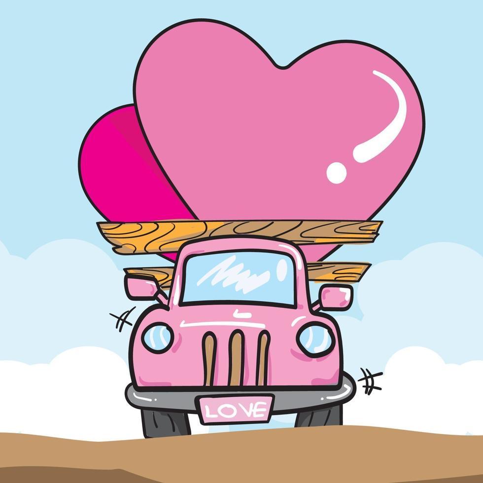 bestelwagen met hartjes voor Valentijnsdag vector afbeelding