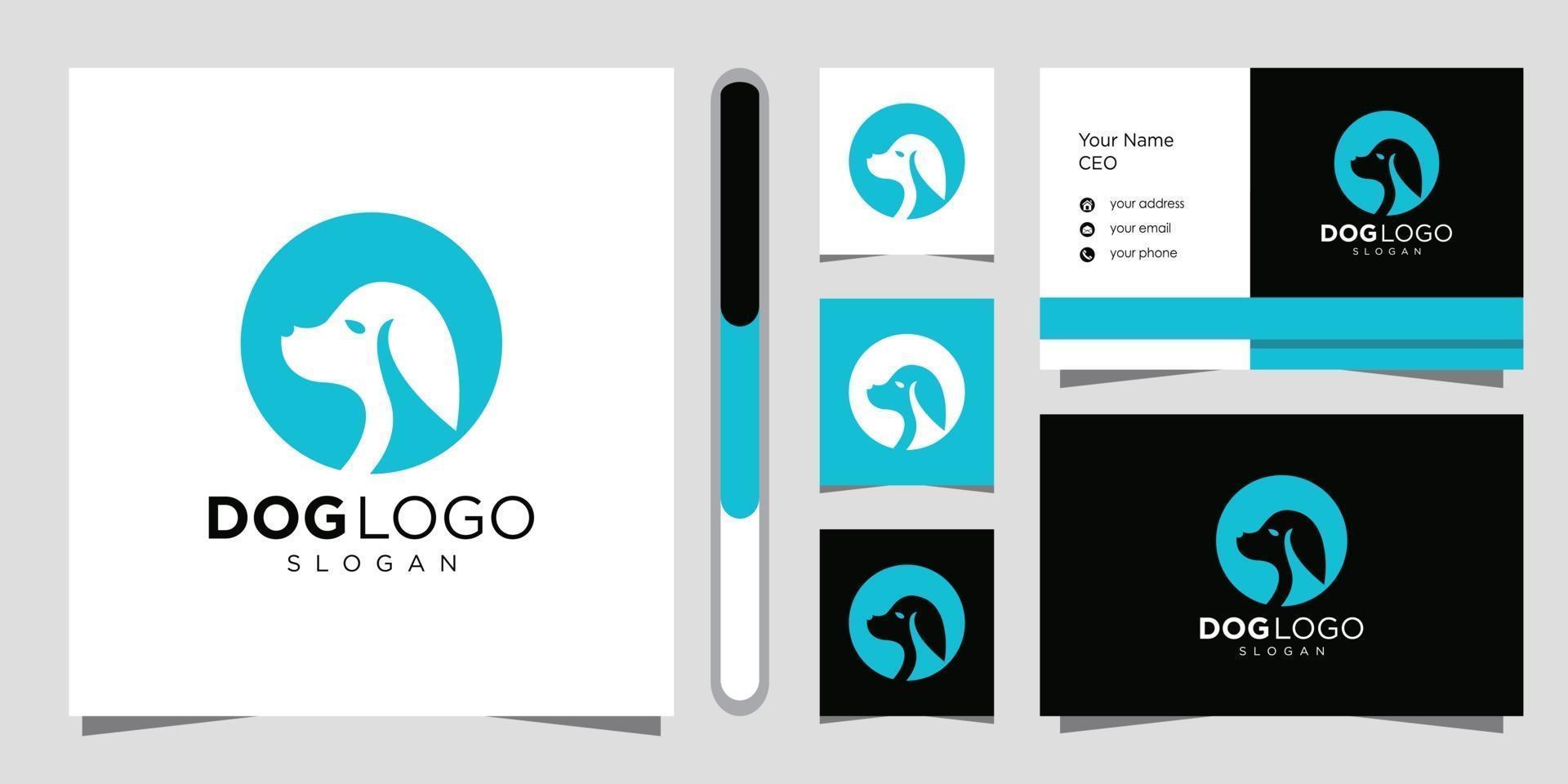 hond logo ontwerp en visitekaartje. vector
