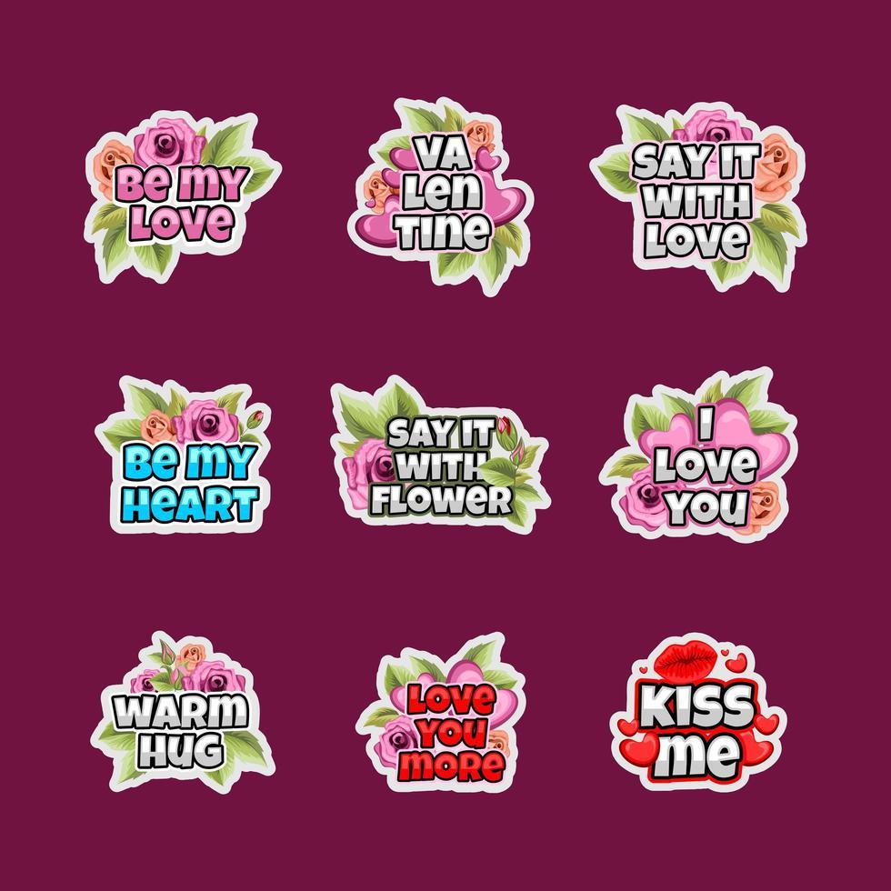 Valentijnsdag belettering sticker set met bloemen ornament vector