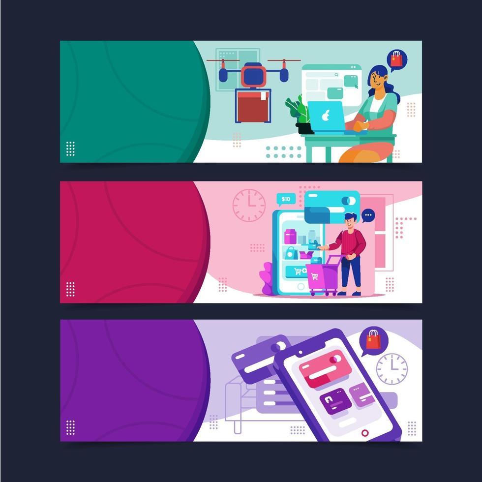 bannermalplaatje contactloos winkelen concept vector