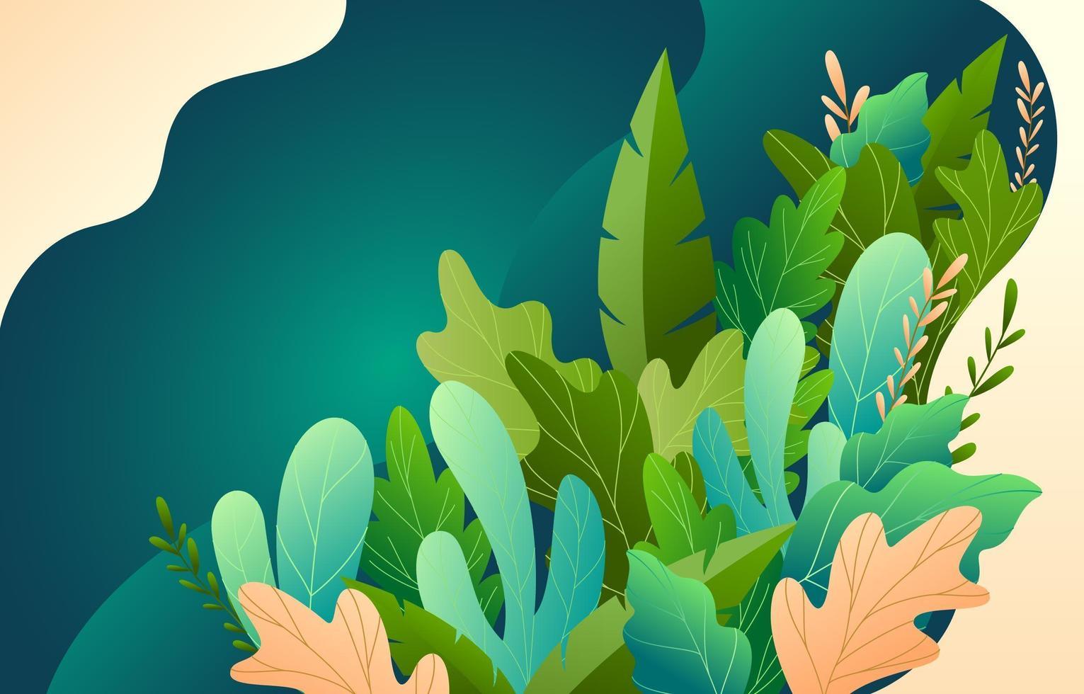schattig bloemen met groene achtergrond vector