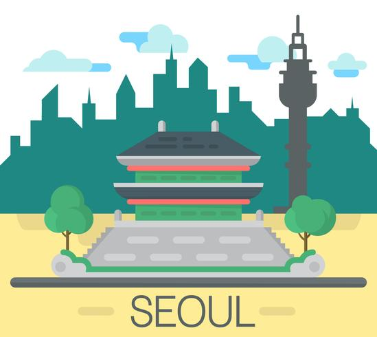 Flat Seoul-landschap vector
