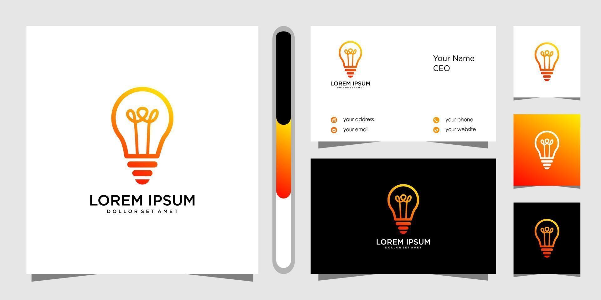 gloeilamp creatief logo ontwerp en visitekaartje vector
