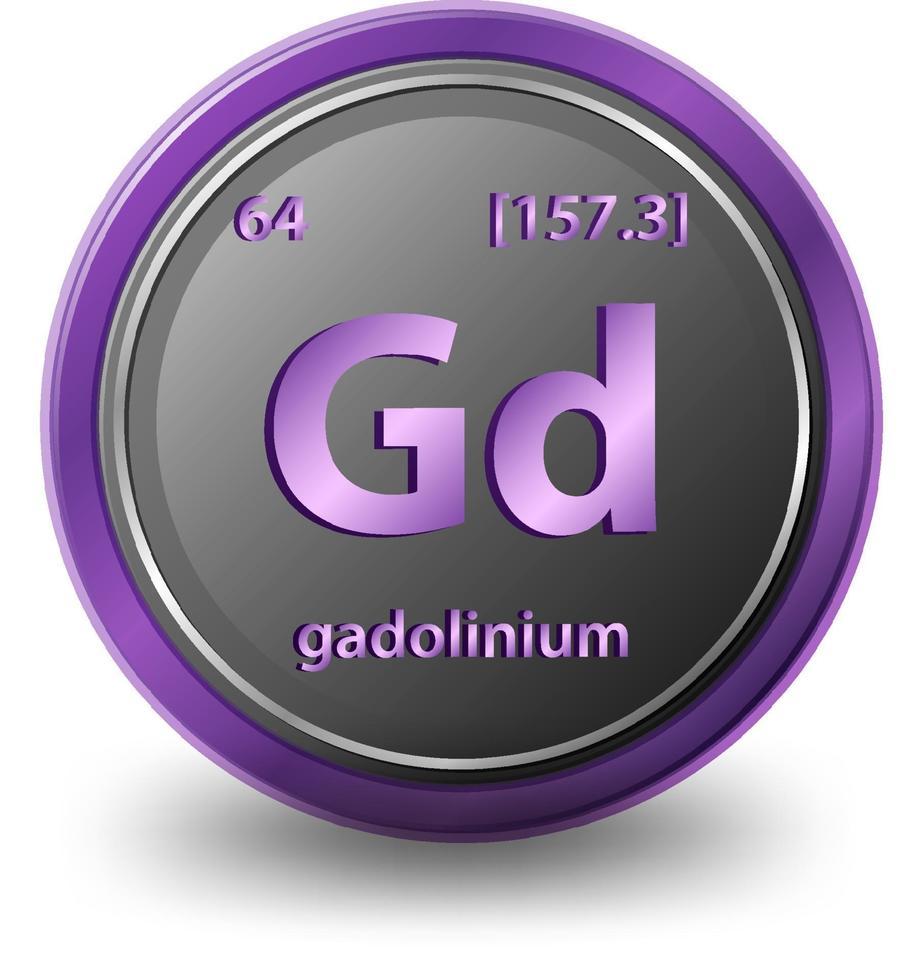 gadolinium scheikundig element. chemisch symbool met atoomnummer en atoommassa. vector