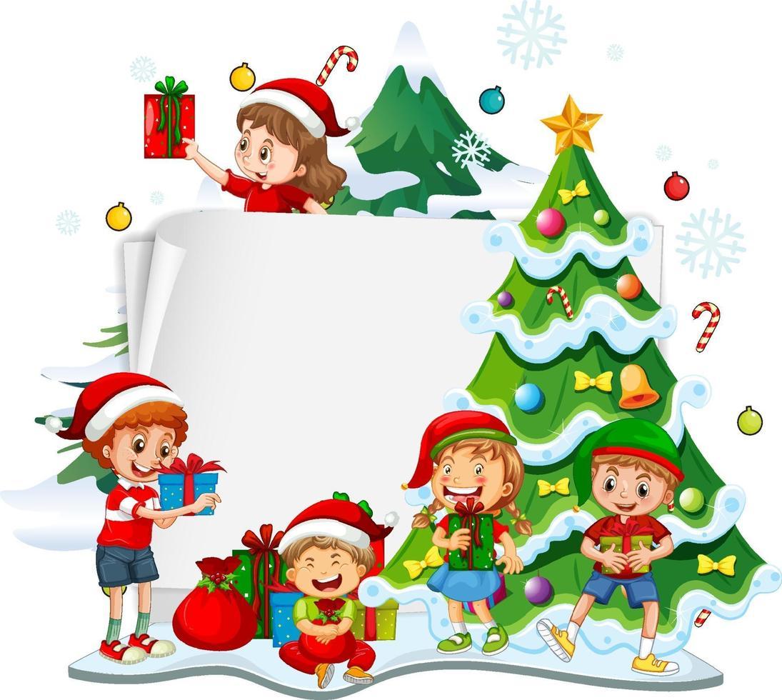 leeg papier met kinderen en kerst-objecten op witte achtergrond vector