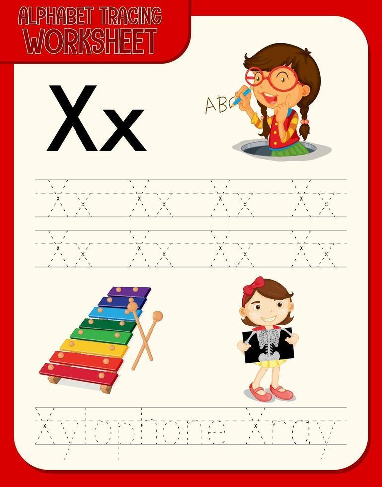 alfabet overtrekken werkblad met de letter x en x vector