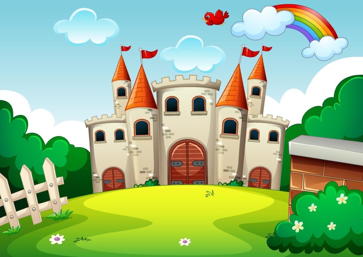 lege scène met kasteel in de natuur vector