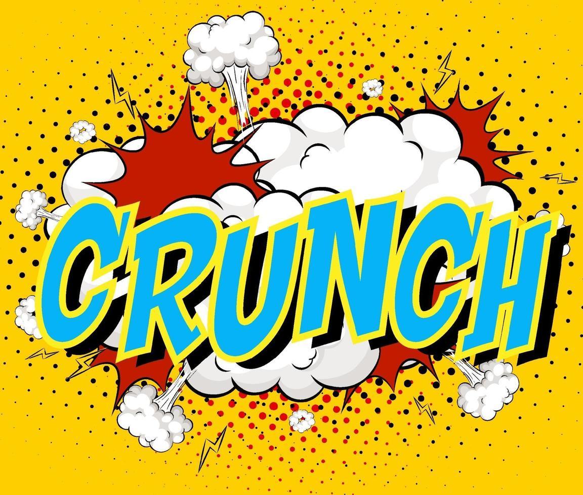 woord crunch op komische wolk explosie achtergrond vector