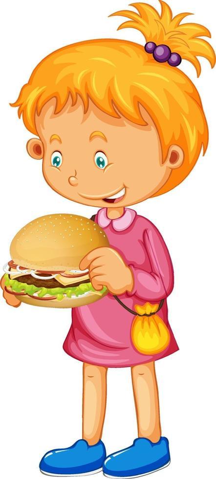 meisje houdt haar sandwich geïsoleerd vector