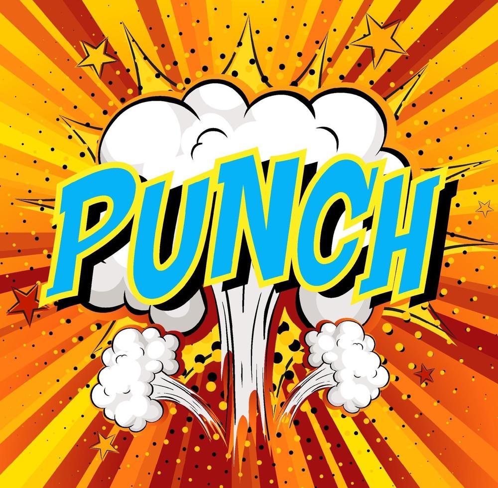 woord punch op komische wolk explosie achtergrond vector