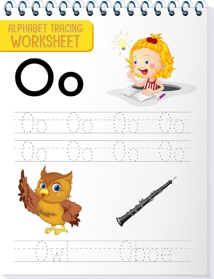 alfabet overtrekken werkblad met letter o en o vector