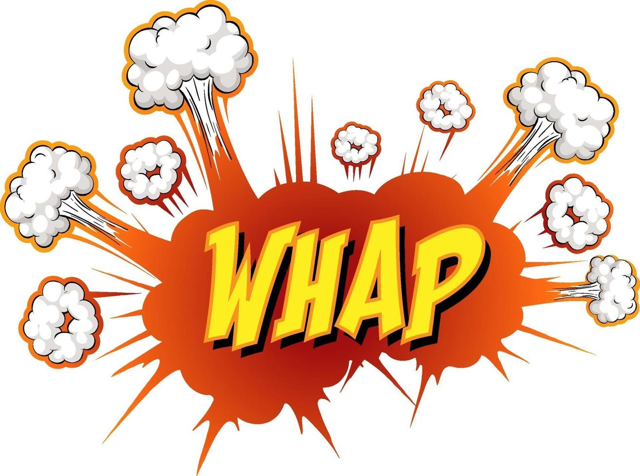 komische tekstballon met whap-tekst vector