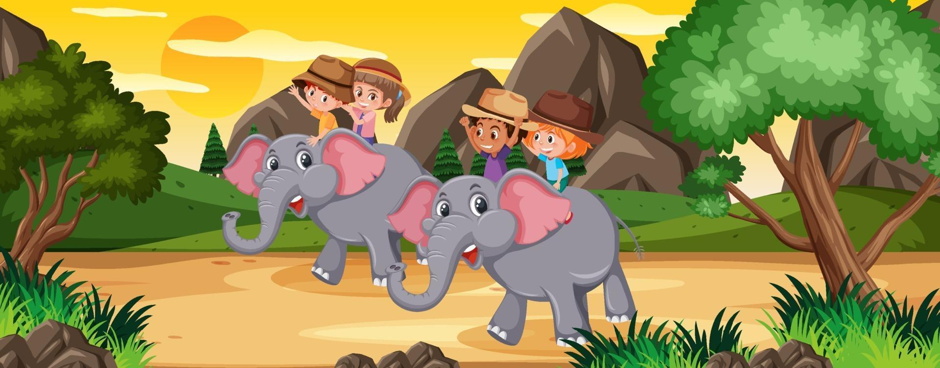 kinderen rijden olifant in de natuur vector