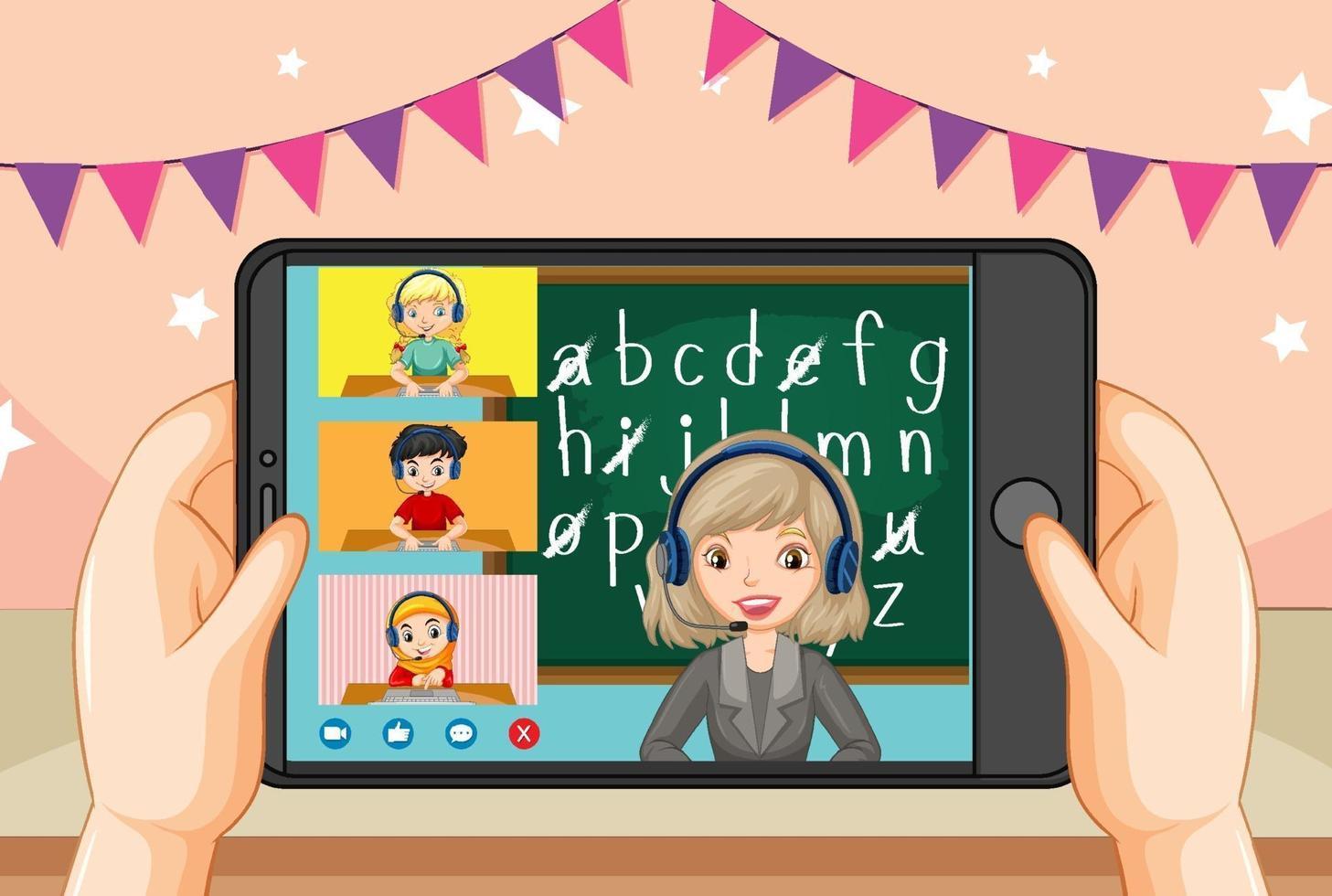handen met smartphone met leraar en student op smartphonescherm vector