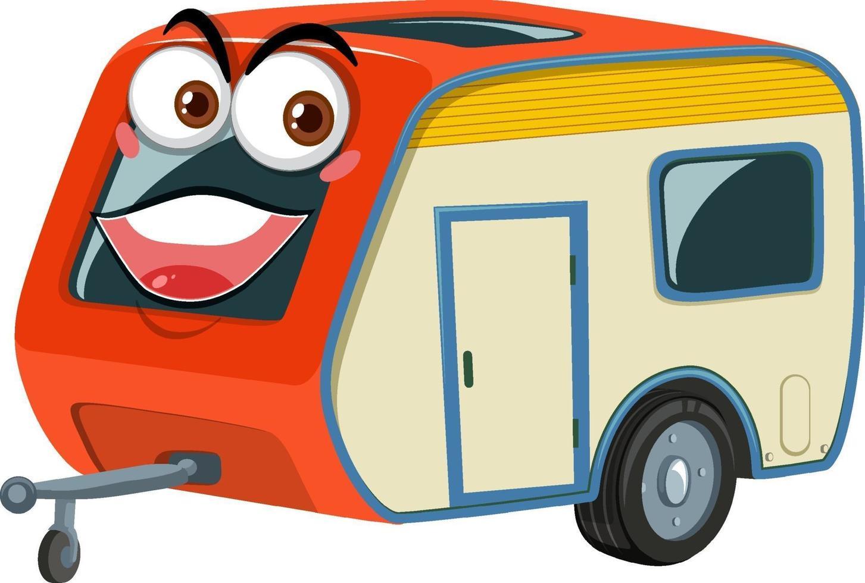 kampeerauto's met gezicht expressie stripfiguur op witte achtergrond vector