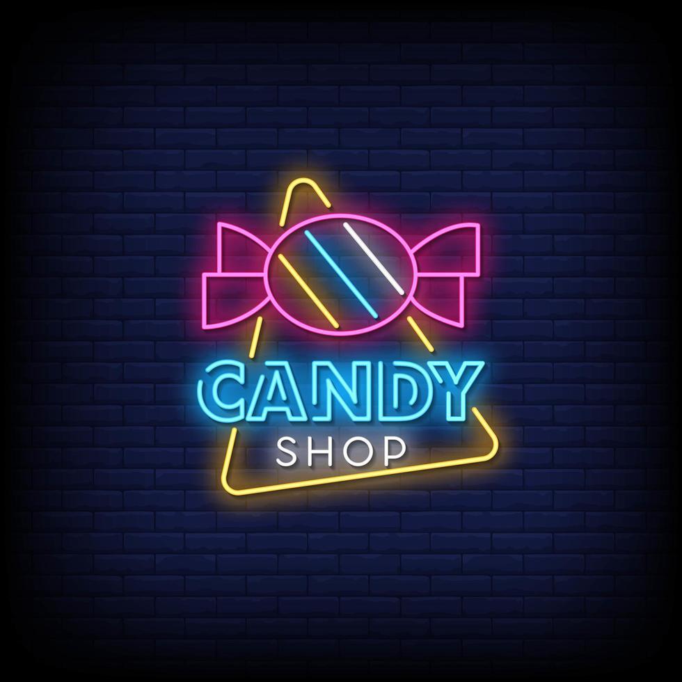 snoepwinkel neonreclames stijl tekst vector