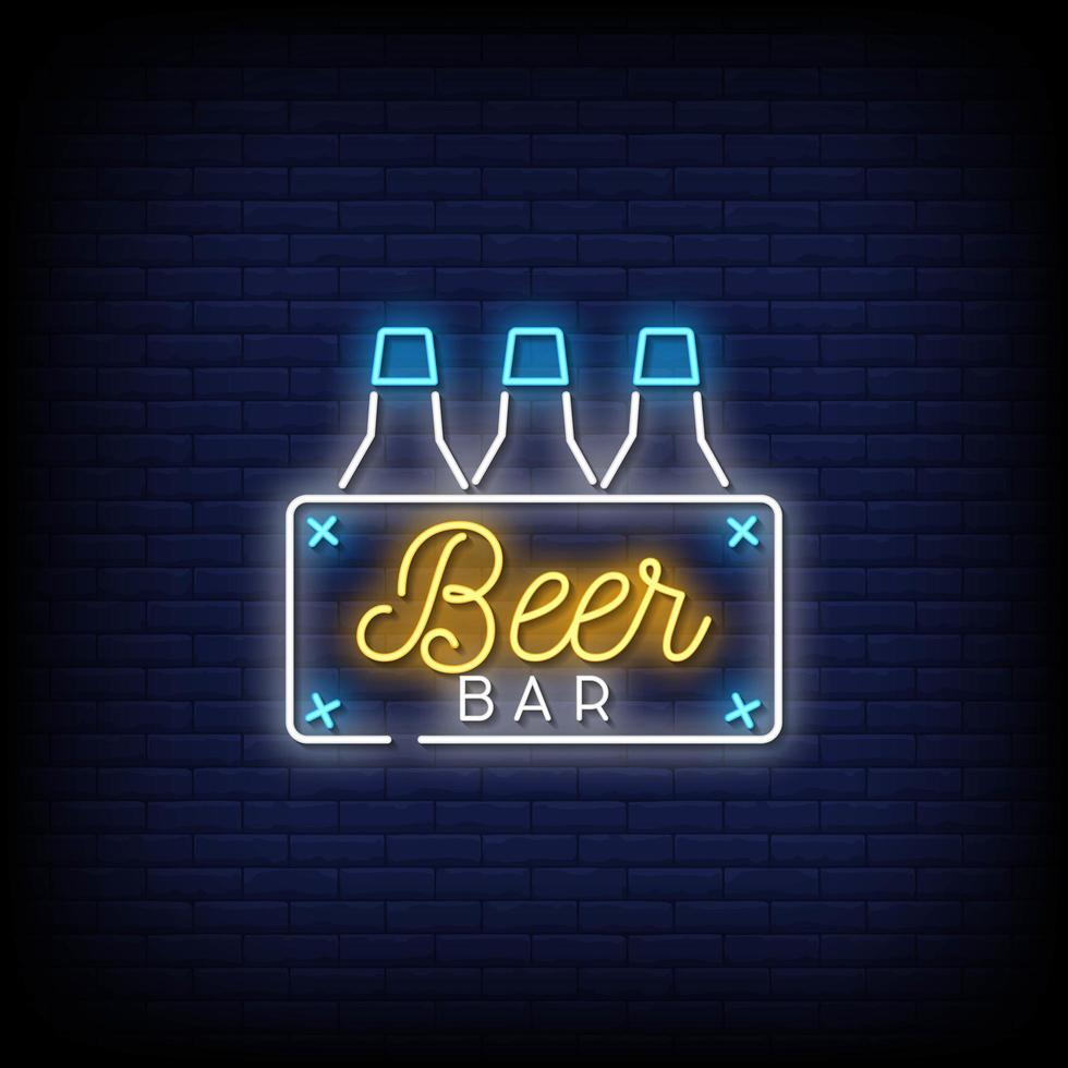 bierbar neonreclames stijl tekst vector