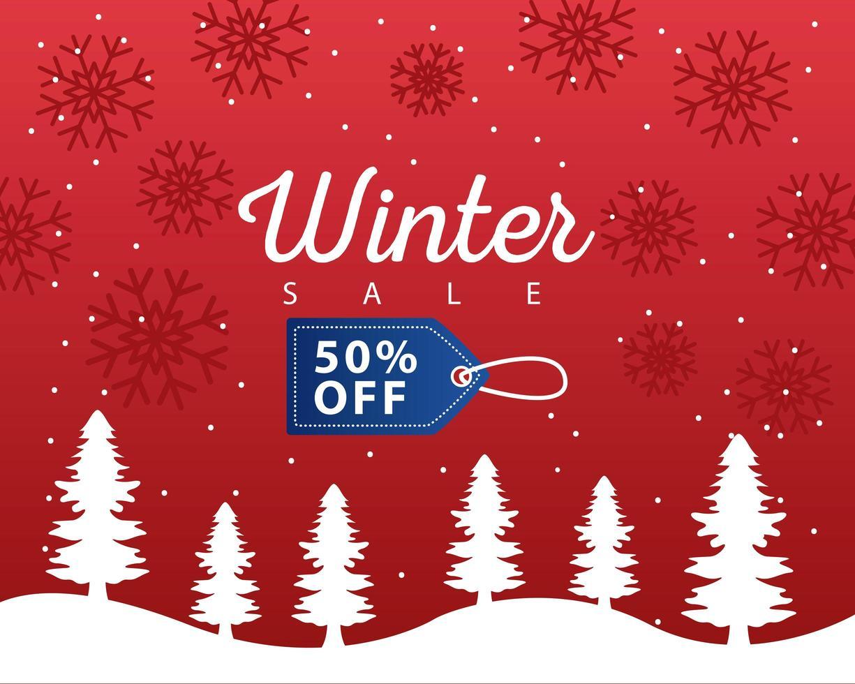 grote winter verkoop poster met blauwe tag opknoping in snowscape vector