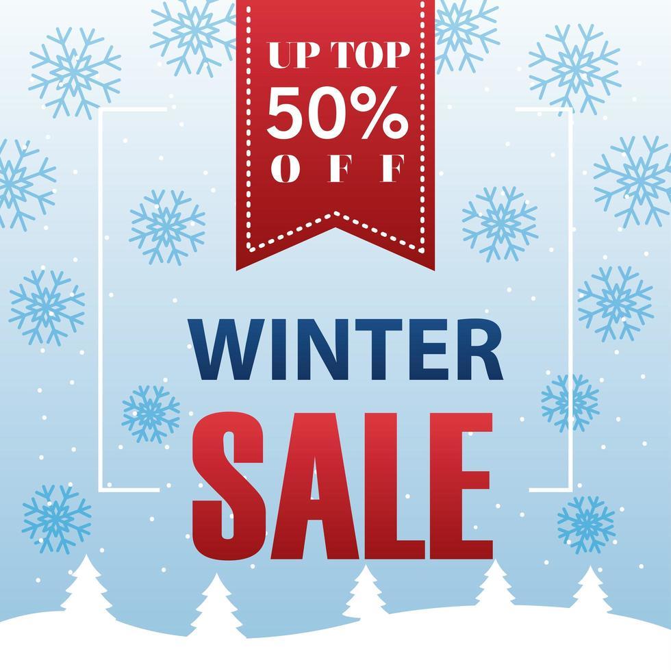 grote winter verkoop poster met lint hangen en sneeuwvlokken vector