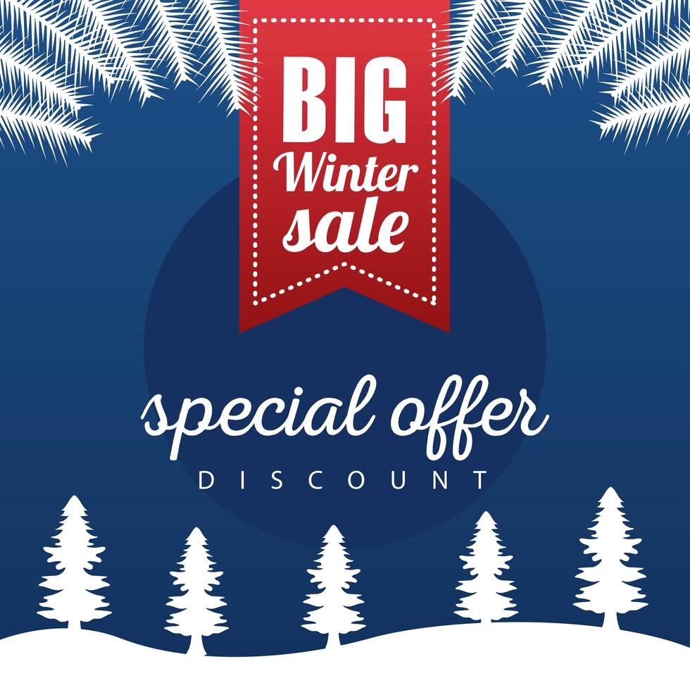 grote winter verkoop poster met lint opknoping in snowscape vector