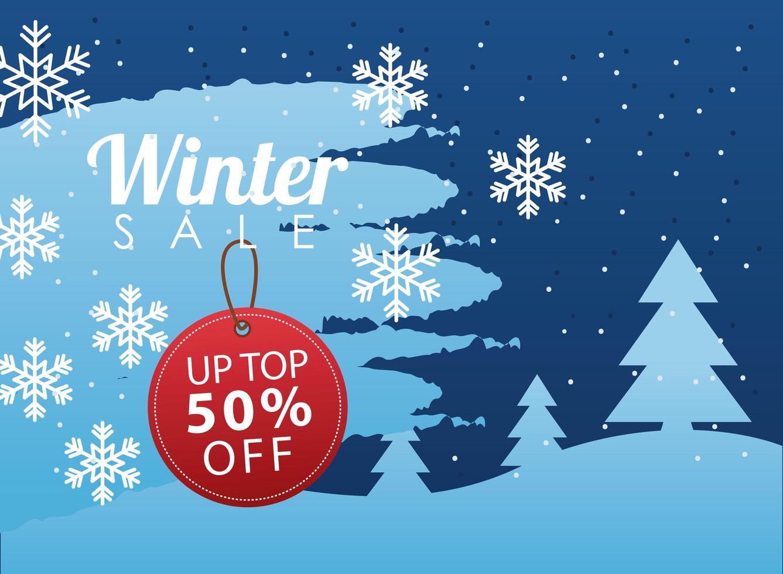 grote winter verkoop poster met ronde tag opknoping in sneeuwlandschap vector