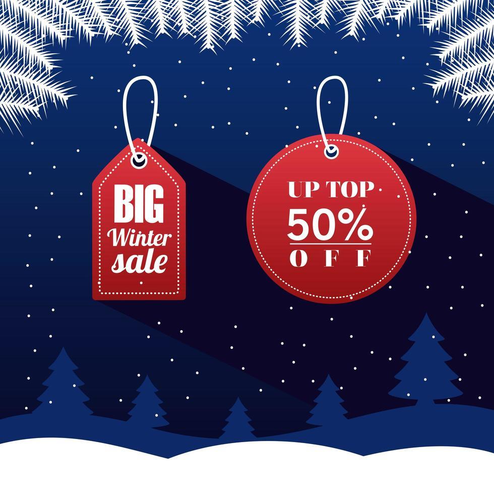 grote winterverkoop poster met belettering in rode tags vector