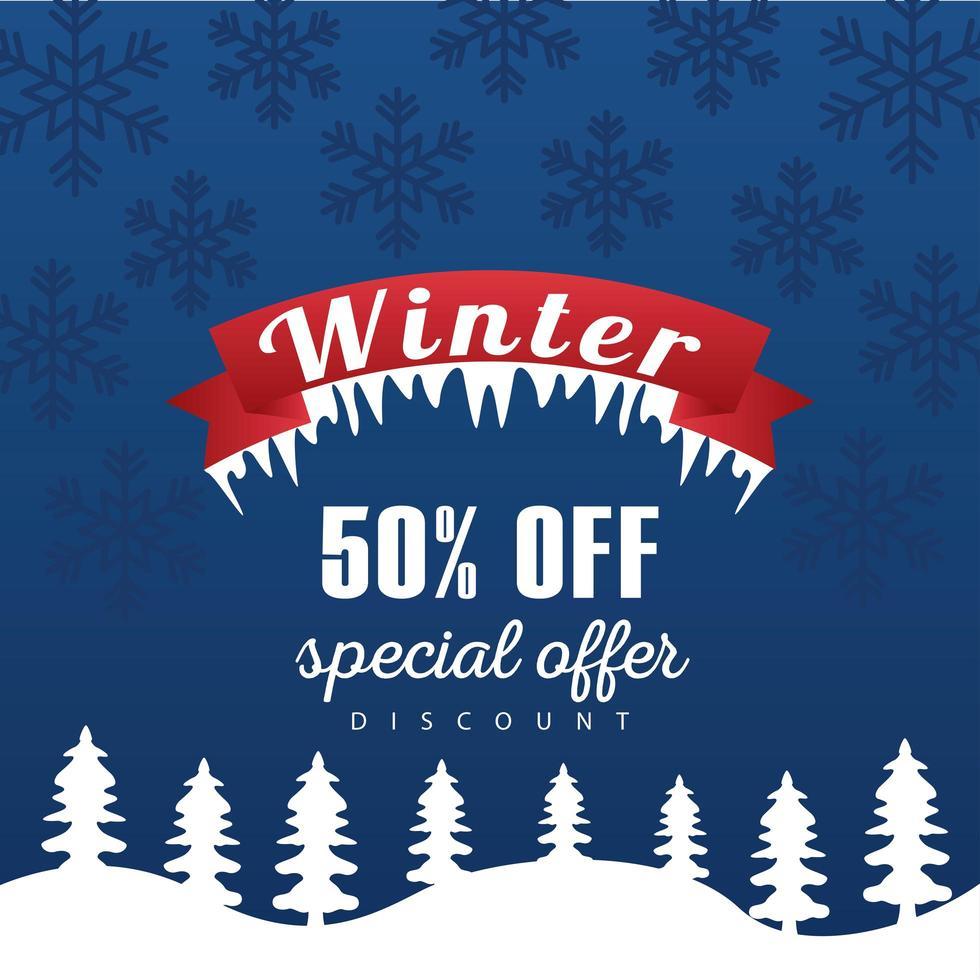 grote winter verkoop poster met lint frame in snowscape vector
