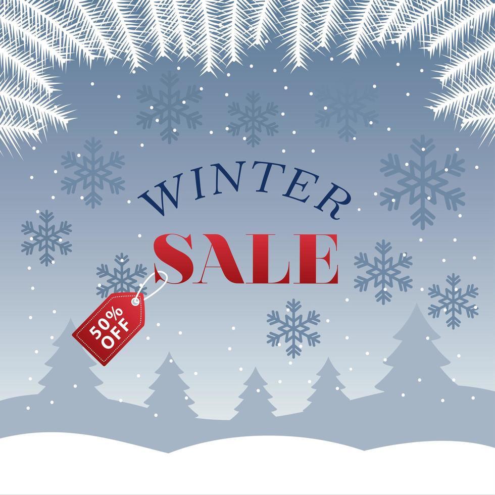 grote winter verkoop poster met label opknoping in boslandschapscène vector