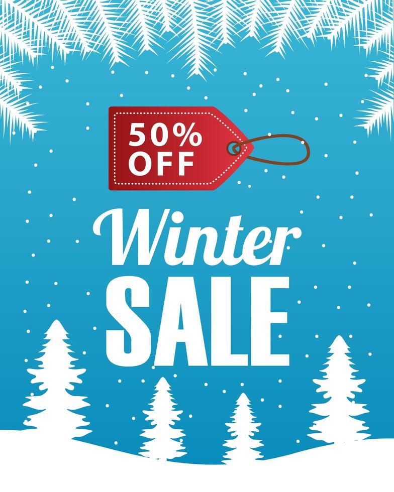 grote winter verkoop poster met tag opknoping in sneeuwlandschap scène vector