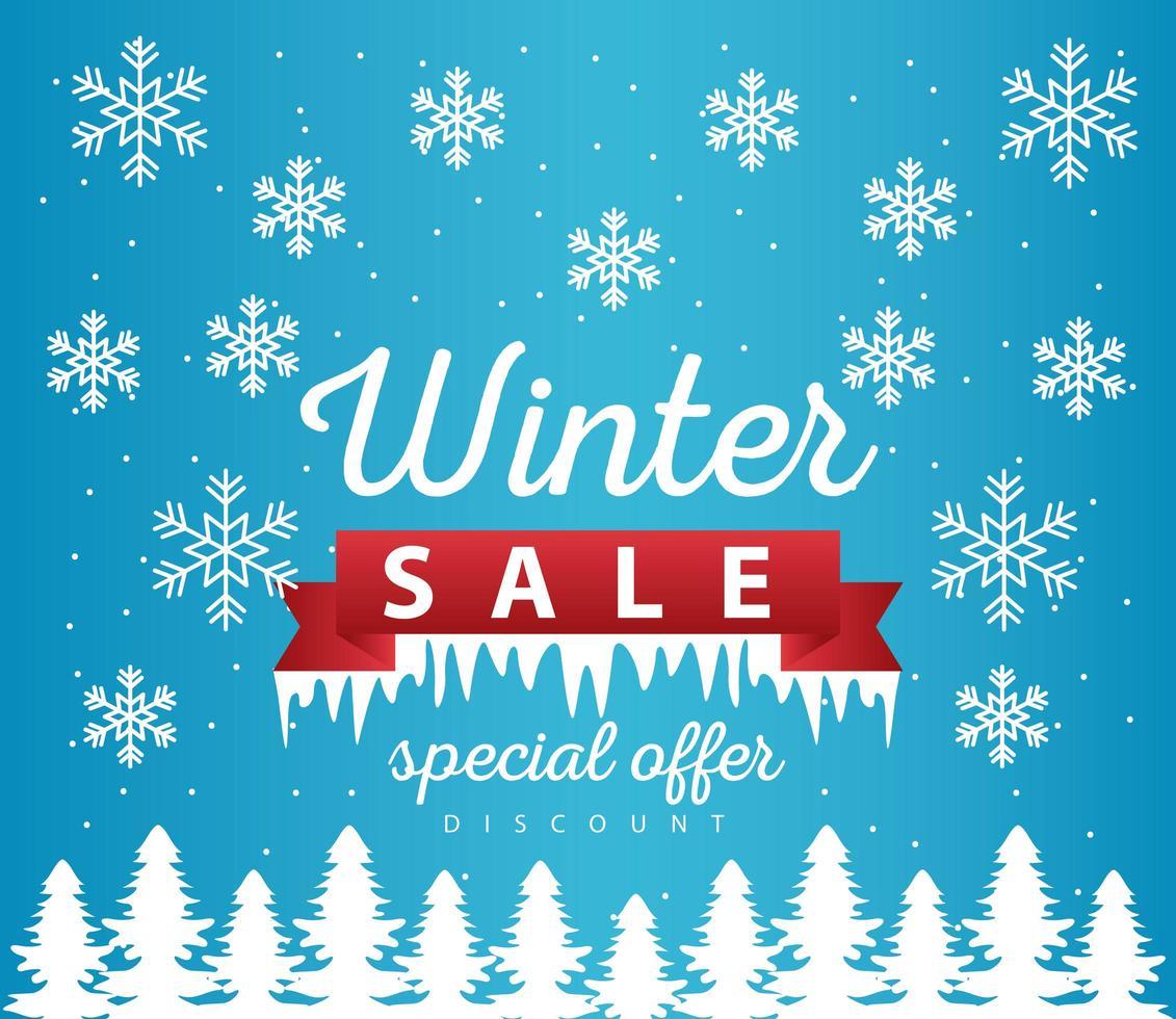 grote winter verkoop poster met lint frame in sneeuwlandschap scène vector