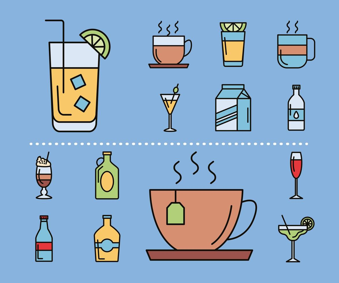 bundel van veertien drankenpictogrammen vector