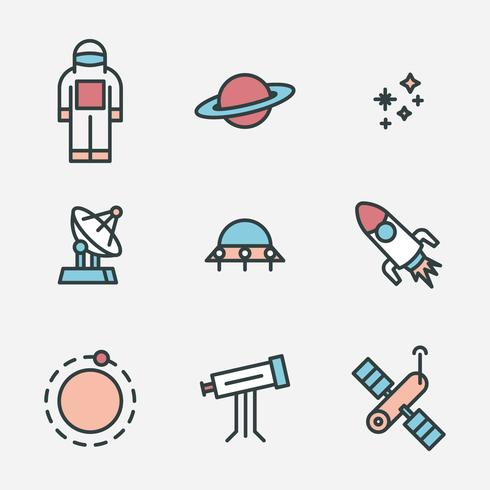 Geschetste kosmos iconen vector