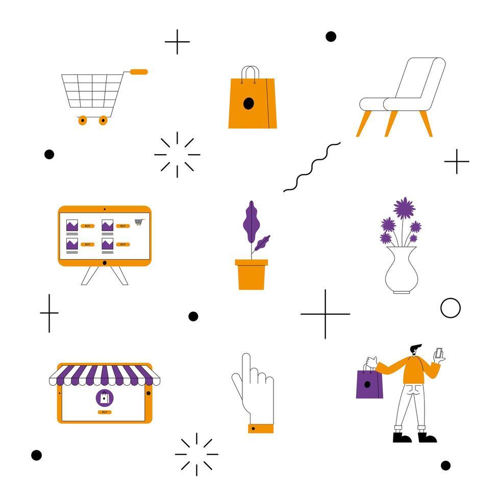 online winkel set van iconen vector design