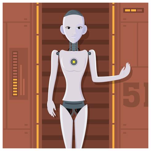 AI Humanoid Vrouwelijke robot vector