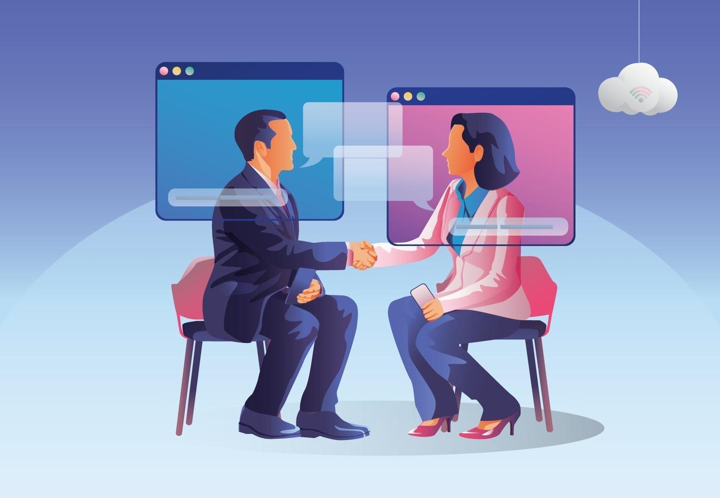 mensen gebruiken videoconferentie. mensen op raamscherm praten met collega's. videoconferenties en online werkruimtepagina voor vergaderingen, leren van man en vrouw. vectorillustratie, plat vector