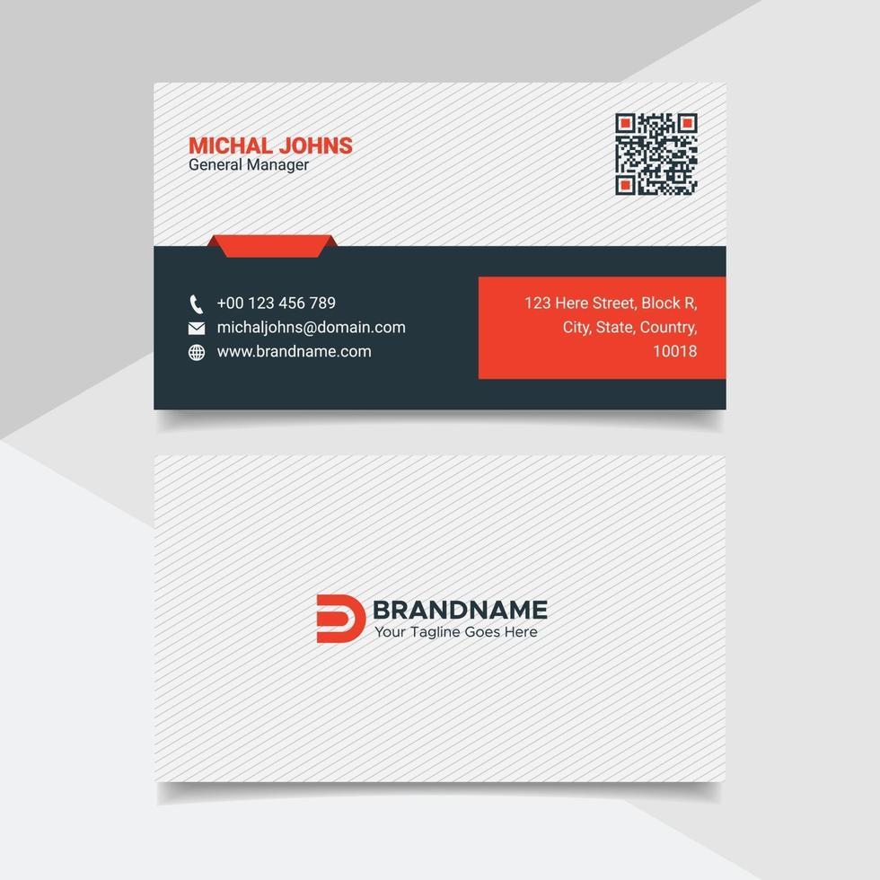 creatieve professionele visitekaartje ontwerpsjabloon, moderne platte huisstijl in rode en witte kleur vector