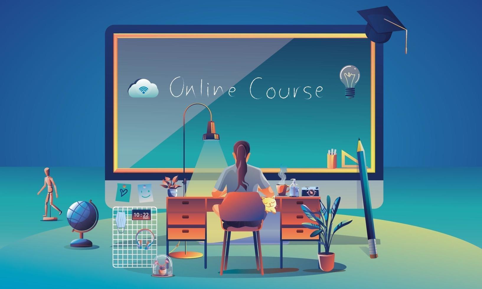 online onderwijsapplicatie leren wereldwijd op computer, mobiele website-achtergrond. sociaal afstandsconcept met boeken, lezing, potlood. de klassikale opleiding, bibliotheek vectorillustratie plat vector