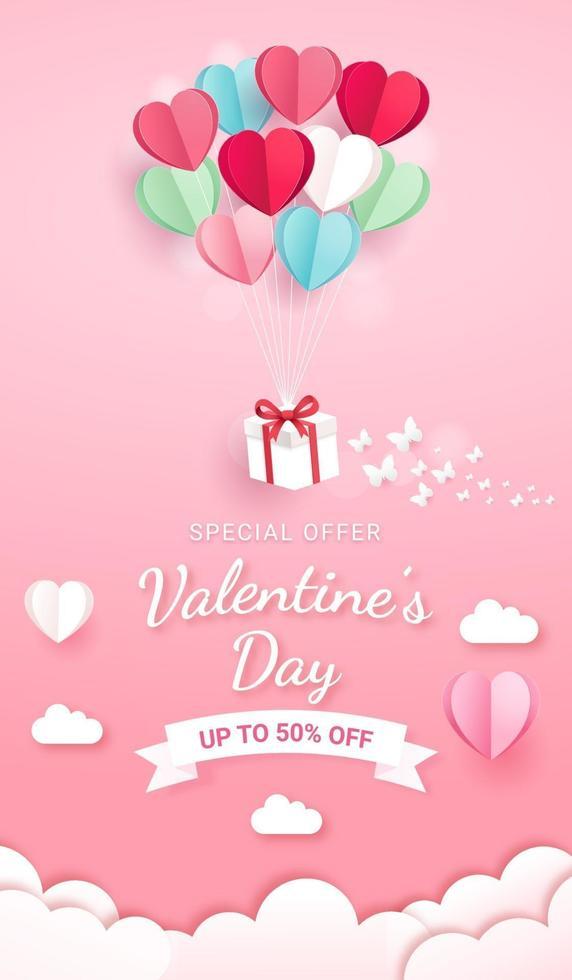 geschenkdoos met ballon op luchtpapier gesneden stijl. Valentijnsdag kaart achtergrond. vector