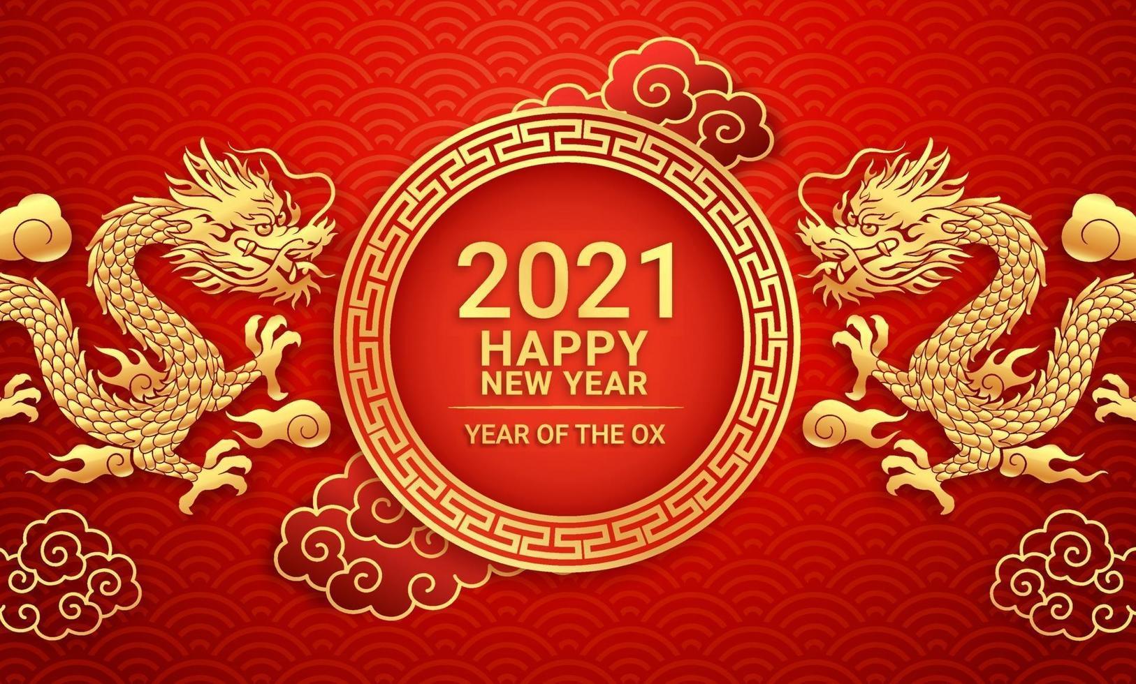 Chinees Nieuwjaar 2021 gouden draak op wenskaart achtergrond. vector illustraties.