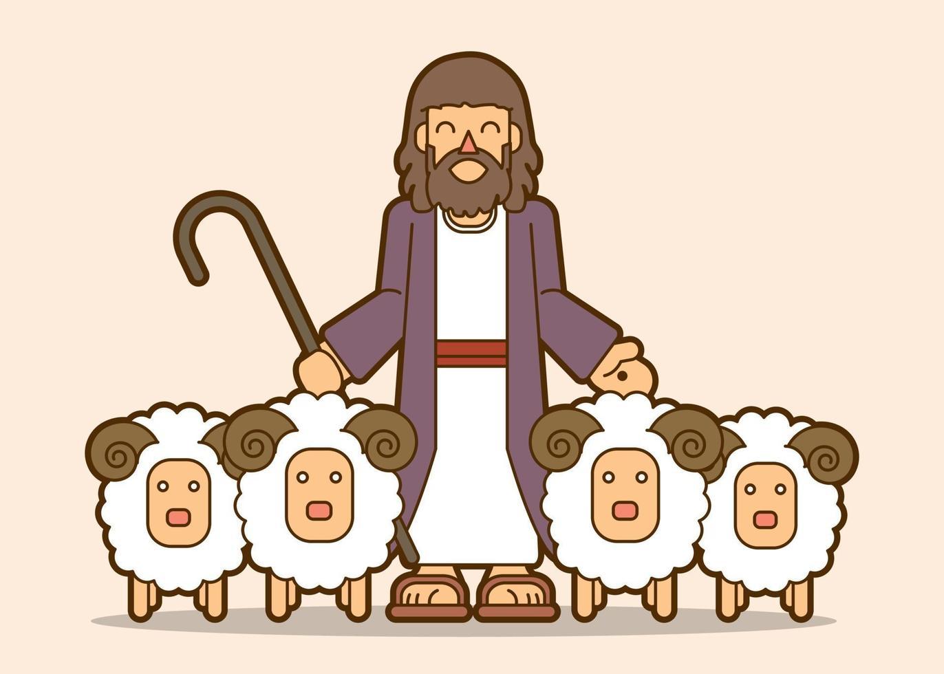 Jezus is mijn herder cartoon grafische vector