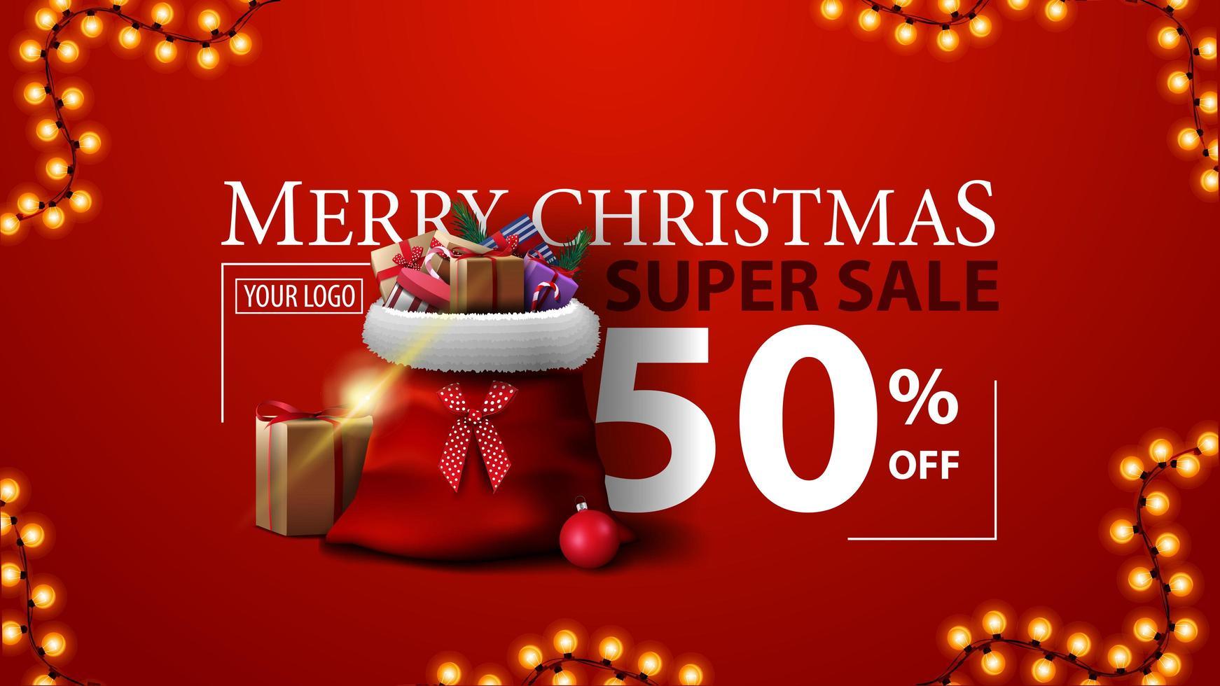 kerst super verkoop, tot 50 korting, rode moderne kortingsbanner met kerstman tas met geschenken vector