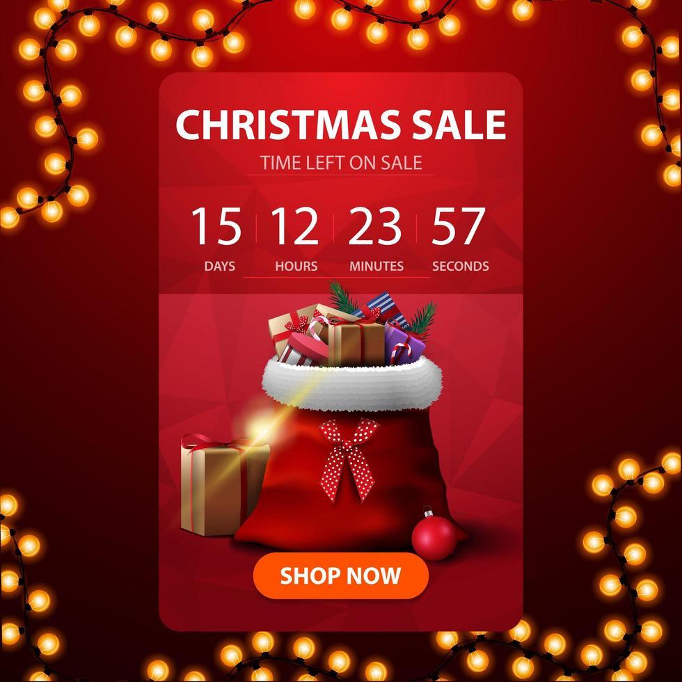 kerstuitverkoop, rode verticale kortingsbanner met afteltimer tot het einde van kortingen en kerstmanzak met cadeautjes vector