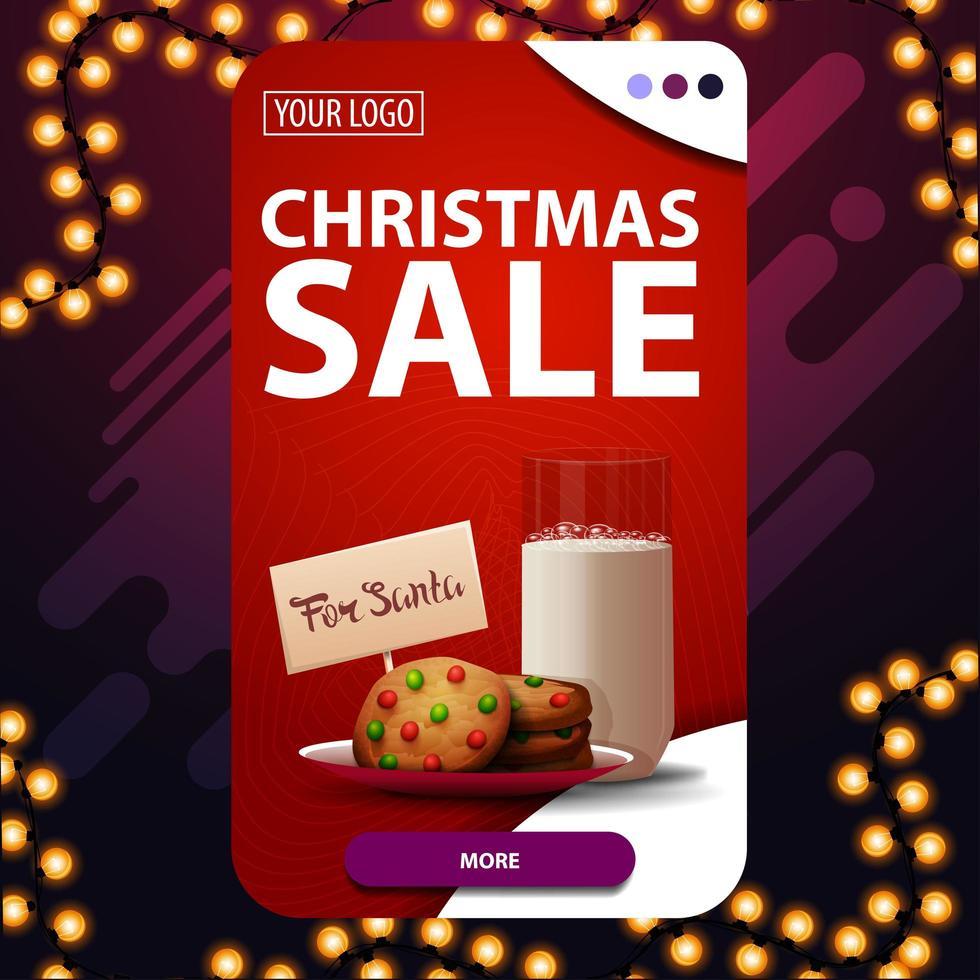 kerstuitverkoop, rode verticale kortingsbanner met knop en koekjes met een glas melk voor de kerstman vector