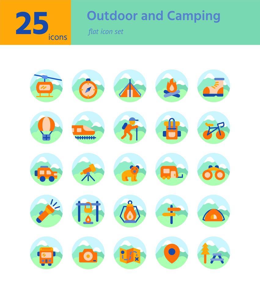 buiten en kamperen platte pictogram sel. vector en illustratie.