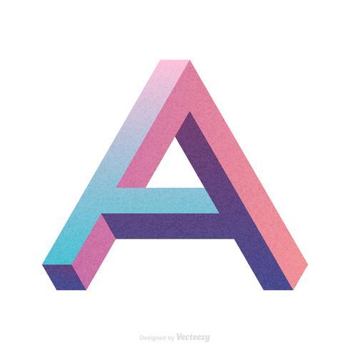 Isometrische Letter A Typografie Vector Design