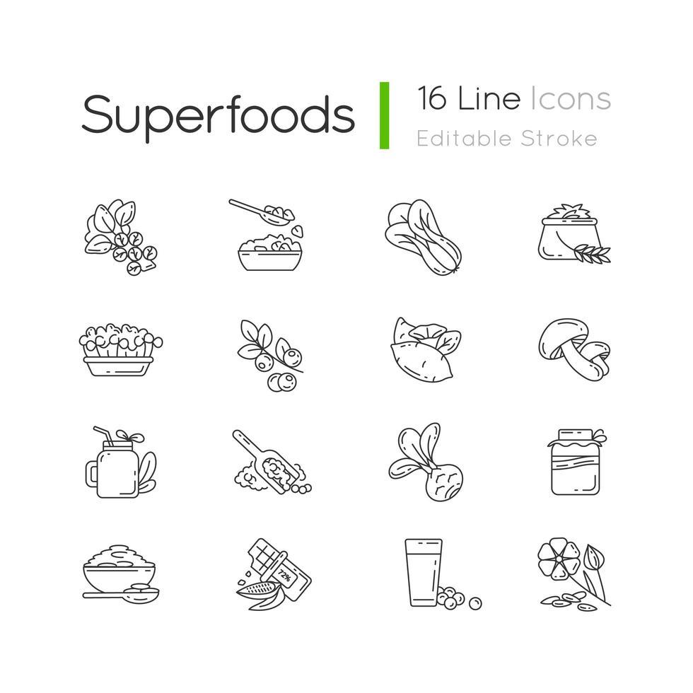 superfoods verscheidenheid pixel perfect lineaire pictogrammen instellen vector