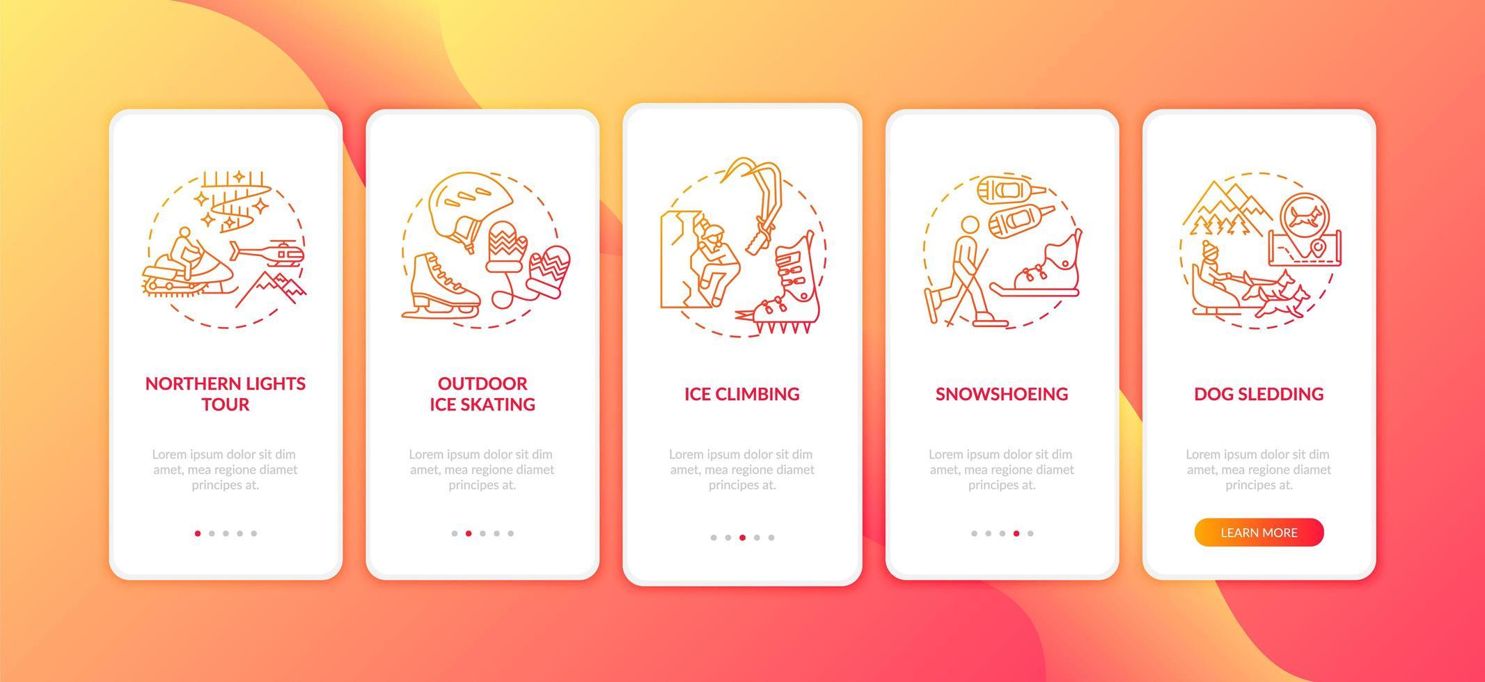 winter buitenactiviteiten onboarding mobiele app-paginascherm met concepten vector