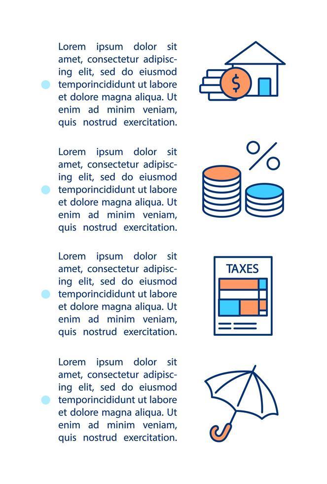 hypotheek elementen concept pictogram met tekst vector