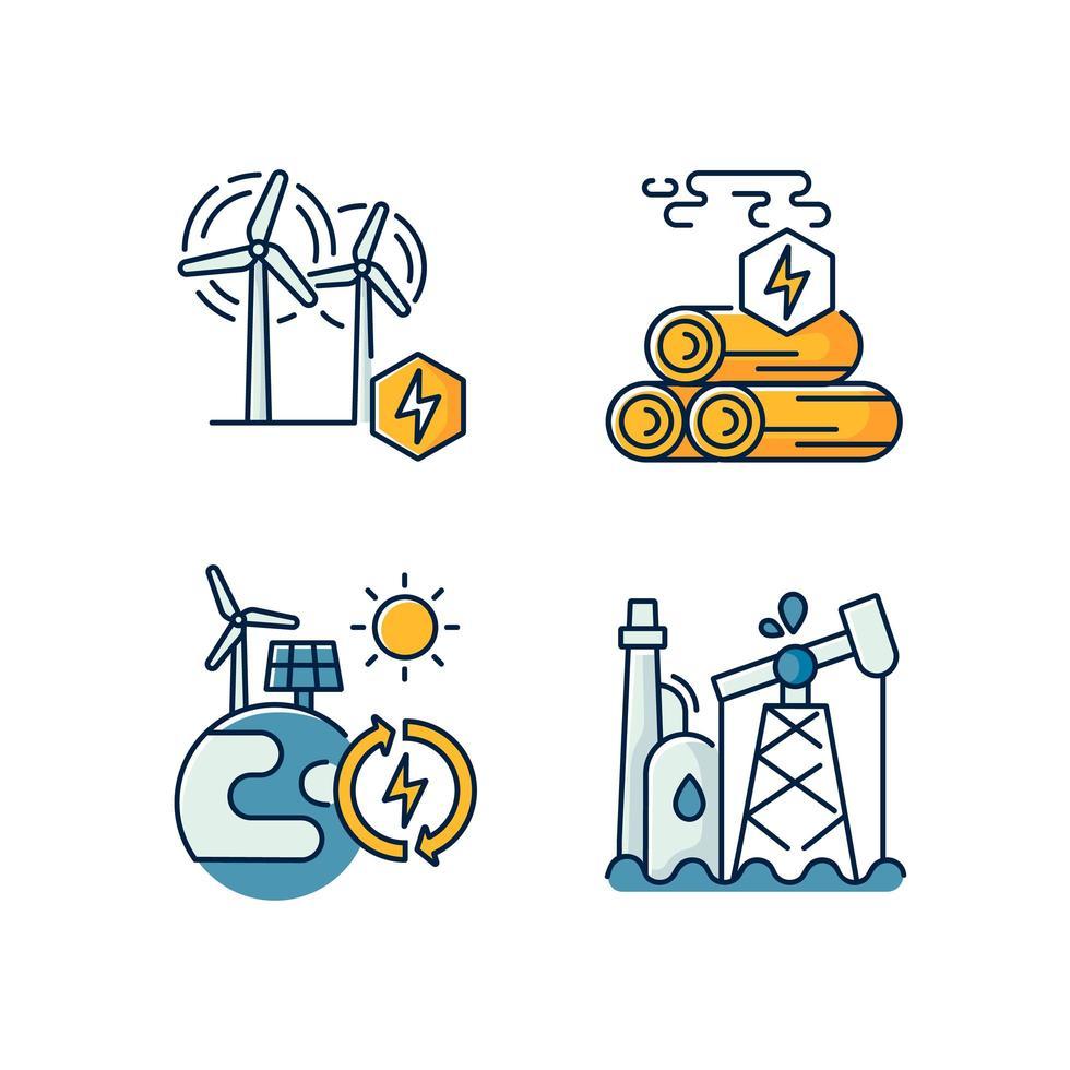 traditionele en alternatieve energie rgb gekleurde pictogrammen instellen vector