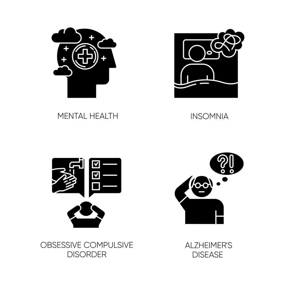 psychische stoornis glyph pictogrammen instellen. slapeloosheid en slaapgebrek. obsessief-compulsief syndroom. ziekte van Alzheimer. dementie vanaf hoge leeftijd. silhouet symbolen. vector geïsoleerde illustratie